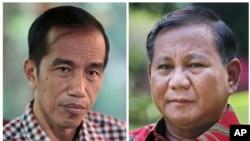 印尼总统大选两位候选人佐科威(左)和普拉博沃·苏比安托(右)