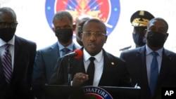 海地臨時總理約瑟夫在太子港召開記者會。(2021年7月16日)