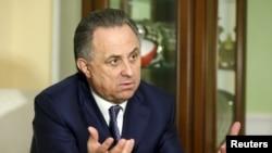 Menteri Olahrata Rusia Vitaly Mutko dalam sebuah wawancara dengan Reuters di Moskow, Maret 2016.