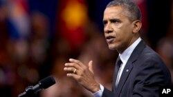 奥巴马总统7月28日在华盛顿举行的非洲青年领袖会议上发表讲话(资料照片)