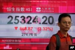 Un uomo passa davanti a una scheda elettronica che mostra l'indice azionario di Hong Kong fuori da una banca A Hong Kong, ottobre 11, 2018. I mercati asiatici sono caduti giovedì, ma hanno recuperato un po 'il venerdì.