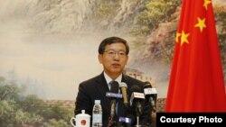 中國駐柬埔寨大使王文天1月17日出席出席新聞發佈會上講話資料照。