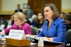 Assistant Secretary for European and Eurasian Affairs Victoria Nuland, right, accompanied Assistant Secretary of State for Near Eastern Affairs Anne Patterson, testifies on Capitol Hill in Washington, Nov. 4, 2015, before the House Foreign Affairs Committ