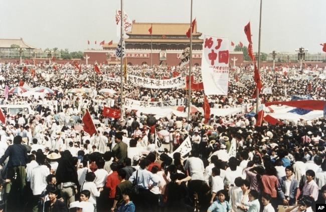 1989年5月17日,中國北京天安門廣場上成千上萬名民主示威者。