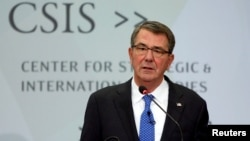 FILE - U.S. Defense Secretary Ash Carter speaks at the Center for Strategic and International Studies in Washington, Oct. 28, 2016. Carter is continuing to talk with Turkey about a bid to take Raqqa, Syria, the Islamic State stronghold.