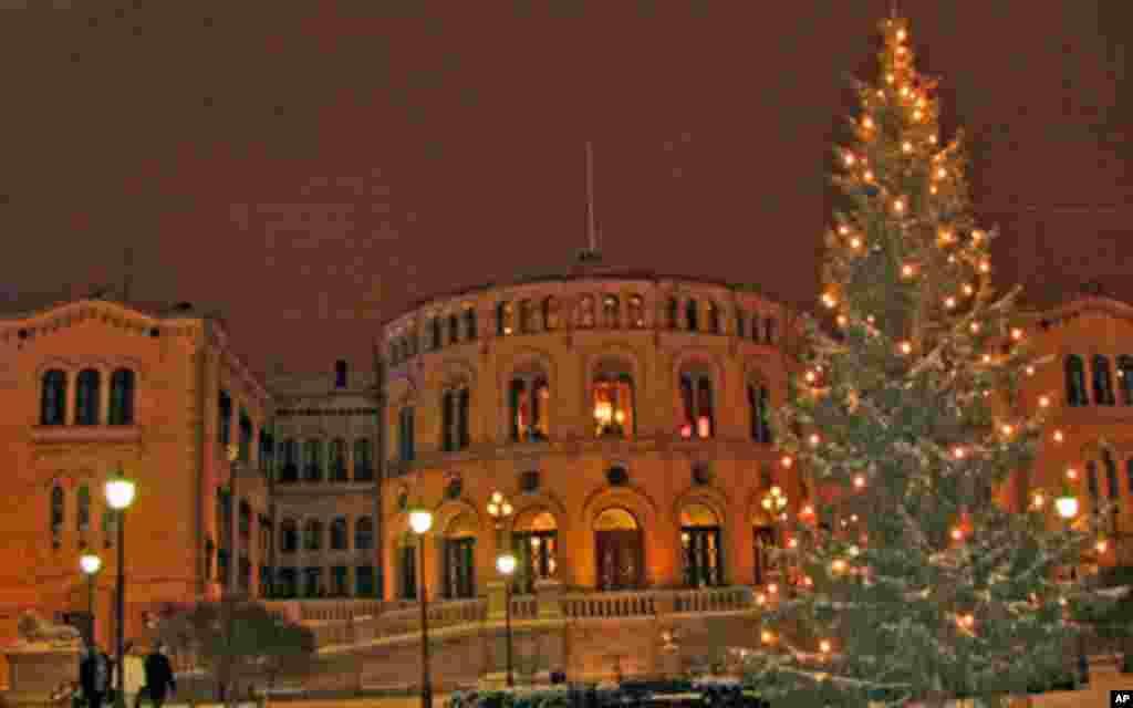 奥斯陆冬天日照时间短,12月份的日落时间为下午3点来钟。议会大楼前的圣诞树也早早点亮了。