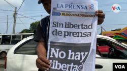 Solo un periódico independiente ha quedado en Nicaragua actualmente. Foto Houston Castillo, VOA.