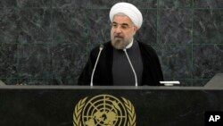 Iranian President Hassan Rouhani addresses a high-level meeting on Nuclear Disarmament during the 68th United Nations General Assembly, Sept. 26, 2013 at U.N. headquarters.