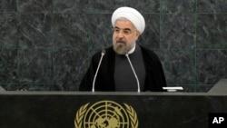 Presiden Iran Hassan Rouhani berbicara dalam pertemuan mengenai pelucutan senjata nuklir pada sidang Majelis Umum PBBB (26/9). (AP/Mike Segar)
