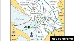Harta e trafikut të drogave (marrë nga raporti i Global Initiative Against Transnational Crime)