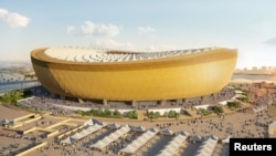 A computer generated image of Lusail Stadium that will host the 2022 FIFA World Cup final, with seating capacity of 80,000, in Lusail City, north of central Doha, Qatar. Qatar Supreme Committee for Delivery and Legacy/Handout via