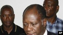 Alassane Dramane Ouattara après l'annonce de sa victoire par la CEI
