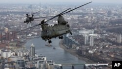 英国皇家空军的奇努克直升机(资料照)