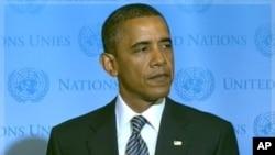 9月20号美国总统奥巴马出席联合国一个论坛