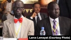 "Opposition negotiator Hussein Mar Nyuot (R), shown here with Mabior de Garang (L) at the first round of peace talks for South Sudan in Addis Ababa in January, says the warring sides have agreed to a ""month of tranquility"" starting May 7."