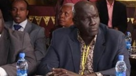 Opposition negotiator Hussein Mar Nyuot, shown here at January peace talks for South Sudan, says the opposition is boycotting the latest round of talks until IGAD responds to a request that the negotiations be more inclusive.