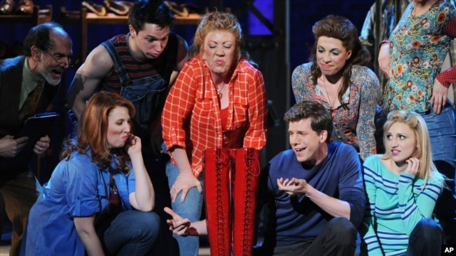 Actor Stark Sands, second from right, of 'Kinky Boots' performs at the 67th Annual Tony Awards, June 9, 2013 in New York.