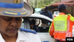 "Senior traffic police official Superintendent Edna Mamonyane says her officers are ""doing their best"" to prevent drunk driving, and regularly arrest motorists for the offence. (D.Taylor/VOA)"