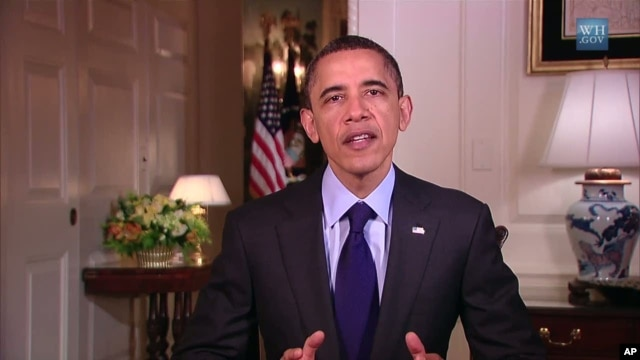 US President Barack Obama delivers his weekly address, April 23, 2011