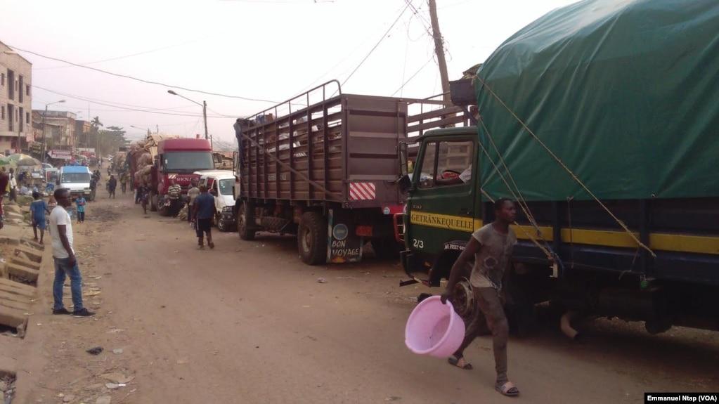 Des camions stationnés au lieu dit Marché 8ème attendent les chargements de filets d'oignons pour le Gabon, à Yaoundé, Cameroun, 20 février 2017. (VOA/Emmanuel Ntap).