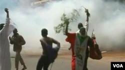 Demonstrators in Khartoum, Sudan protest Friday against an anti-Islamic video released on the Internet. (Irena Lagunina)