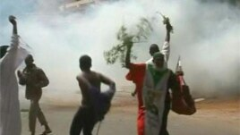 Demonstrators in Khartoum, Sudan protest Friday against an anti-Islamic video released on the Internet. (Irena Lagunina)