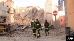 This handout TV grab released by Italian broadcast Sky Tg24 shows the destroyed basilica of Norcia after an 6.6 magnitude earthquake in the town, Oct. 30, 2016.