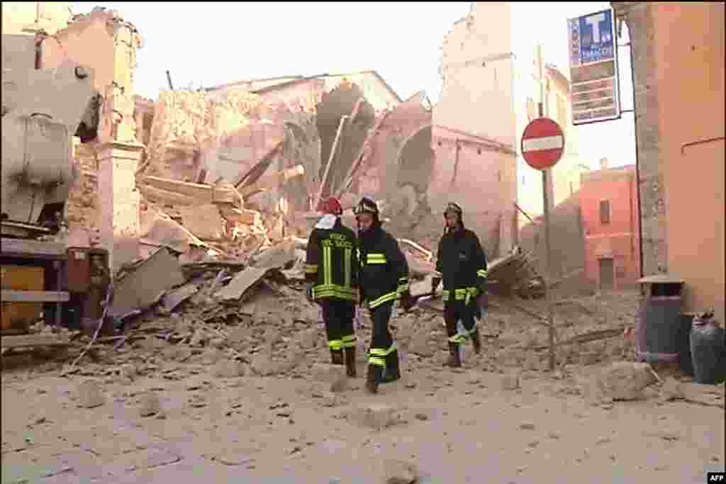 This handout TV grab released by Italian broadcast Sky Tg24 shows the destroyed basilica of Norcia after an 6.6 magnitude earthquake, Oct. 30, 2016.