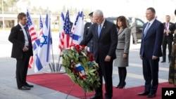 Le vice-président Mike Pence devant le Parlement d'Israël, le 22 janvier 2018.