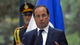 French President  Francois Hollande speaks during a news conference in Kabul, May 25, 2012 (Reuters).