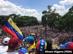 Opponents of President Nicolas Maduro wave a Venezuelan national flag as thousands gather in Caracas, Venezuela, May 20, 2017.