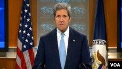 美国国务卿克里宣布两岸被豁免伊朗制裁条款(美国之音视频截图) Secretary Kerry announces China and Taiwan exempted from NDAA Iran Sanction (VOA Video)
