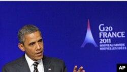 美国总统奥巴马星期五在法国戛纳举行记者会