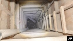 "The exit of the tunnel that according to authorities was used by Mexican drug lord Joaquin ""El Chapo"" Guzman, to escape from the Altiplano maximum security prison is seen in Almoloya, Mexico, July 14, 2015."