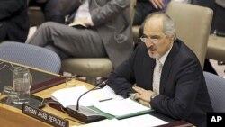 31일 시리아 사태를 논의하는 유엔안보리에서 시리아 대사 바샤르 자파리