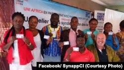Journalistes membres du Syndicat National des Professionnels de la Presse de Côte d'Ivoire.