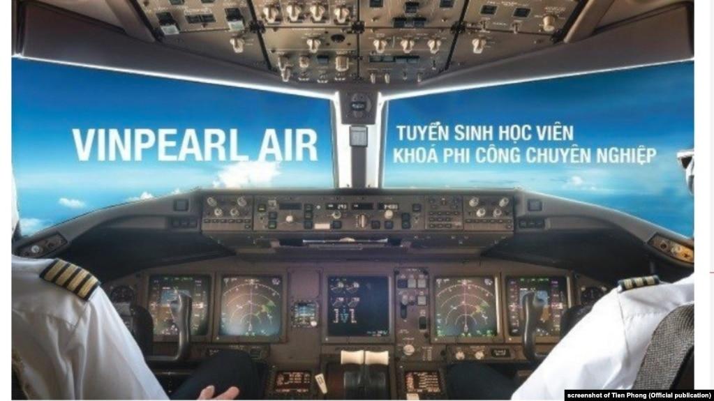 Một quảng cáo của tập đoàn Vingroup về trường đào tạo bay của họ