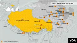 Bản đồ nơi xảy ra các vụ tự thiêu ở Tây Tạng. Hơn 100 người Tây Tạng đã tự thiêu để phản đối sự cai trị của Trung Quốc.
