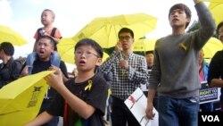 青年学子高喊香港民主口号