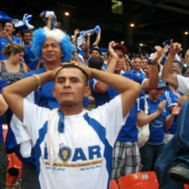 Salvadoran Fans cheering on their team which lost to Panama in a shootout