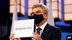 토마스 바흐 국제올림픽위원회(IOC) 위원장이 21일 도쿄 오쿠라 호텔에서 열린 138차 IOC 총회에서 호주 브리스베인이 2032년 하계올림픽 개최지로 결졍됐다고 발표했다.