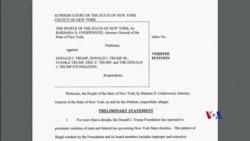 2018-06-15 美國之音視頻新聞: 紐約州起訴川普基金會