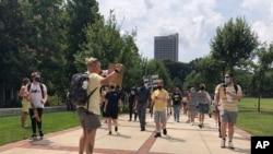 17일 미국 애틀랜타 조지아공대에서 가을학기 대면수업에 반대하는 시위가 열렸다.