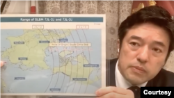 日本副防衛相中山泰秀2021年6月28日出席哈德遜研究所一個討論會時解釋中國的軍事威脅(哈德遜研究所視頻截圖)