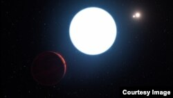 This artist's impression shows a view of the triple star system HD 131399 from close to the giant planet orbiting in the system. The planet is known as HD 131399Ab and appears at the lower-left of the picture. (Photo courtesy of ESO)