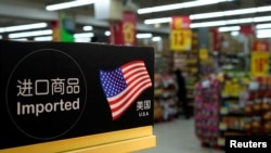 FILE - Imports from the U.S. are seen at a supermarket in Shanghai, China, April 3, 2018.