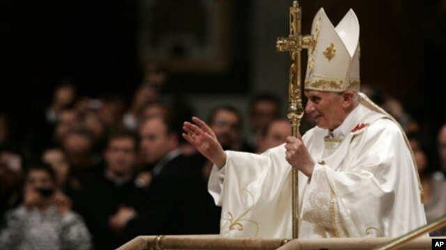 Pope Benedict XVI, at  Vatican's St. Peter's Basilica, Dec. 12, 2011.