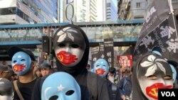 Hong Kong es una de las ciudades donde miles de manifestantes marcharon con motivo del Día Mundial de los Derechos Humanos, el martes 10 de diciembre de 2019.