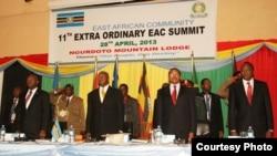 Marais wa nchi za Afrika mashariki Uhuru Kenyatta wa Kenya, Jakaya Kikwete of Tanzania, Yower Museveni of Uganda and Pierre Nkurunziza wa Burundi.