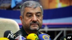Commander of Iran's Revolutionary Guard, Gen. Mohammad Ali Jafari, says Oct. 8, 2017, the U.S. should move its military bases farther from Iran's borders if it imposes new sanctions against Tehran, the official IRNA news reports.